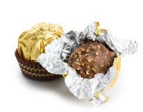 被包裹的巧克力candie 库存照片