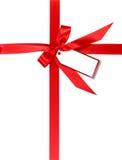 被包裹的礼品红色丝带标签 图库摄影
