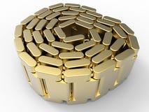 被包裹的金黄手表金属皮带 免版税库存照片
