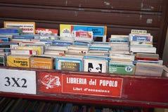被卖的使用的书 库存图片
