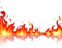 被反射的火火焰 库存图片