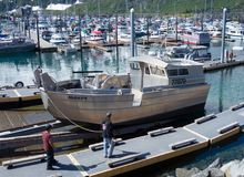 被发射在whittier港口的钢商业船春天 图库摄影