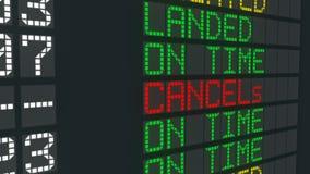 被取消的飞行标志机场桌,国际到来宣扬日程表取消 皇族释放例证