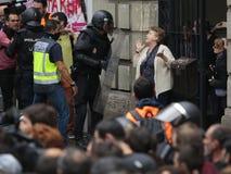 被取缔的赞成公民投票天在巴塞罗那 免版税库存图片