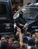 被取缔的赞成独立公民投票天在巴塞罗那 免版税库存照片