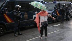 被取缔的赞成独立公民投票天在巴塞罗那 库存图片