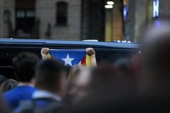被取缔的赞成独立公民投票天在巴塞罗那 库存照片
