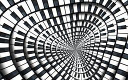 被变形的琴键音乐漩涡摘要分数维螺旋样式背景 黑白钢琴圆的螺旋 螺旋钢琴 库存例证