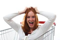 被变得极度兴奋的购物 免版税库存照片
