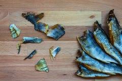 被吃的干鱼 免版税库存图片