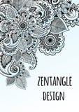 被启发的线艺术装饰花zentangle样式 设计框架绿色模板向量 在beautful构成的优质被画的元素 库存例证
