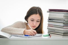被吸收的女学生 免版税图库摄影