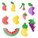 10被咬住的果子的汇集 免版税库存图片