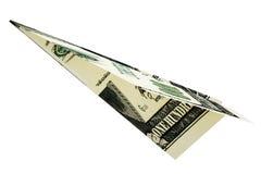 被回报的金钱美元飞机 免版税库存照片
