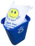 被回收的塑料袋HappyFace 库存图片