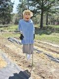 被回收的被手工造的庭院稻草人 图库摄影