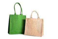 从被回收的黑森州的大袋做的袋子 免版税库存照片