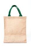 从被回收的黑森州的大袋做的购物袋在白色backgrou 库存照片