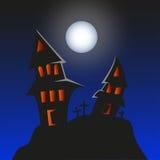 被困扰的妖怪家的万圣夜背景 免版税库存照片