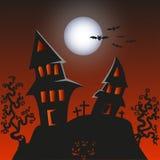 被困扰的妖怪家的万圣夜背景 免版税图库摄影