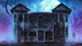 被困扰的恐怖房子录影 向量例证
