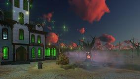 被困扰的房子和蠕动的树在黄昏 向量例证