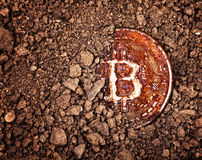 被埋没的生锈的bitcoin 图库摄影