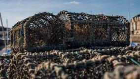 被堆的鱼篮子 免版税图库摄影