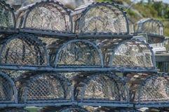 被堆的龙虾陷井 免版税库存图片
