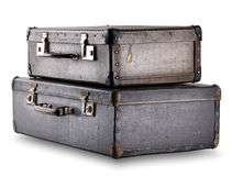 被堆积的两个老手提箱 免版税库存图片