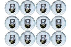 被堆积的开放罐头 免版税库存照片