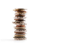 被堆积的硬币塔 图库摄影
