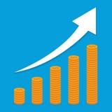 被堆积的硬币成长曲线图 上升的收支概念 平的样式传染媒介例证 库存照片