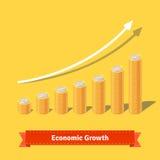被堆积的硬币成长曲线图 上升的收支概念 免版税库存图片