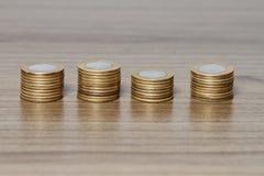 被堆积的硬币巴西真正 免版税库存图片