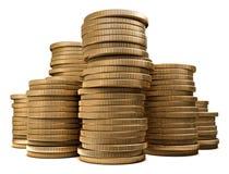 被堆积的硬币 库存例证