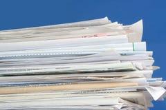 被堆积的票据 库存照片