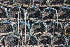 被堆积的虾笼 免版税库存图片