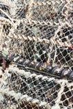 被堆积的龙虾网 库存图片
