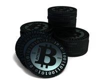被堆积的bitcoin硬币 图库摄影