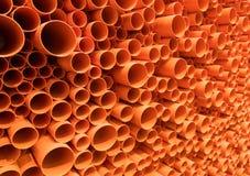 被堆积的PVC管道 库存照片