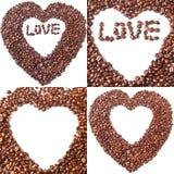 被塑造的咖啡豆的收藏 图库摄影