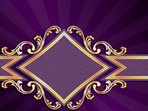 被塑造的横幅金刚石水平的紫色 库存照片