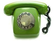 被塑造的绿色老电话 库存图片