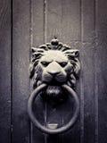 被塑造的通道门环狮子 库存照片