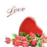 被塑造的配件箱巧克力重点红色玫瑰 库存图片