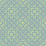 被填装的孔雀花设计在鲜绿色和蓝色颜色的无缝的传染媒介样式背景例证 皇族释放例证