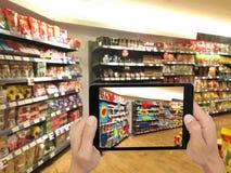 被增添的和虚拟现实技术未来派概念,浸泡 免版税库存照片