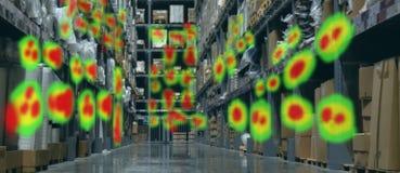 被增添的和虚拟现实技术未来派概念,零售商用途增添组合虚拟现实技术发现 免版税库存图片