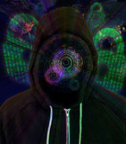 被增添的现实计算机黑客戴头巾人 免版税库存照片